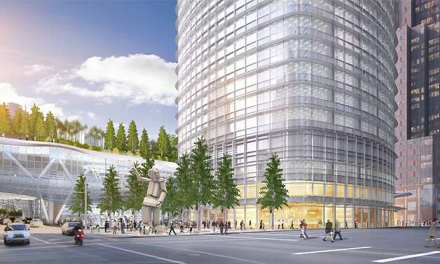 The proposed Transbay Tower would include a public square on the east. Behind it is the new Transbay Terminal, set to open in 2017, with a park on the roof. An earlier plan had more connections between the two features, such as a people mover and mezzanine-level shops. Photo: Pelli Clarke Pelli