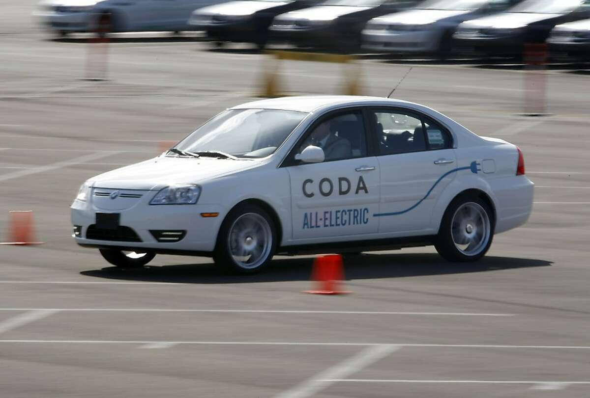 The CODA all-electric car was available for a test drive after the press conference. CODA Automotive rolled out their first all electric car on Monday, March 12, 2012 in Benecia, Ca where their assembly line is located.