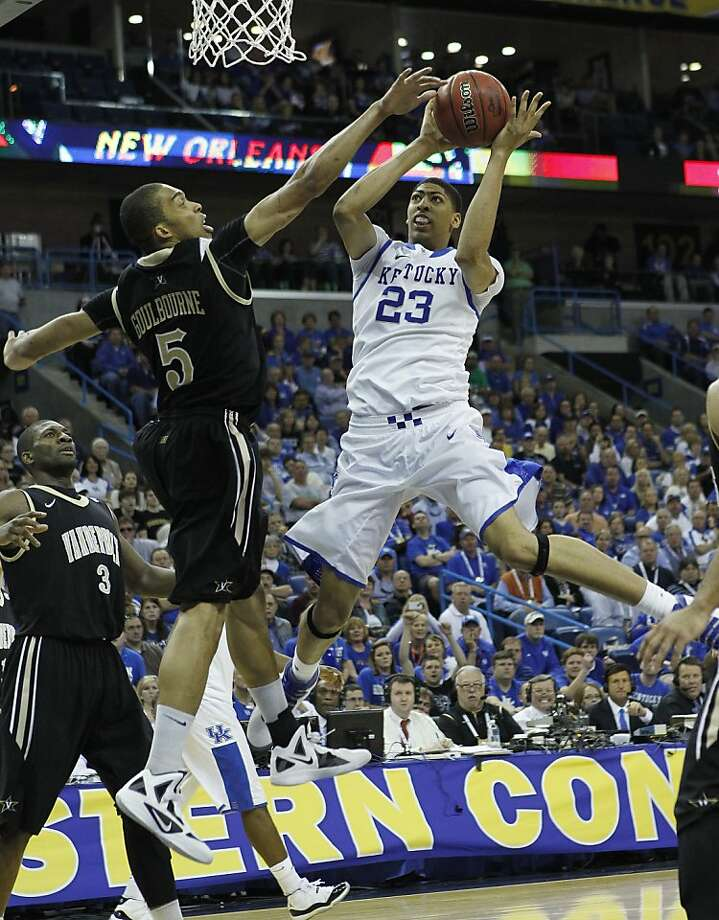 Kentucky forward Anthony Davis (23) shoots over Vanderbilt forward Lance Goulbourne (5) during the second half of an NCAA college basketball game in the championship game of the 2012 Southeastern Conference tournament at the New Orleans Arena in New Orleans, Sunday, March 11, 2012. Vanderbilt beat Kentucky 71-64. (AP Photo/Gerald Herbert) Photo: Gerald Herbert, Associated Press