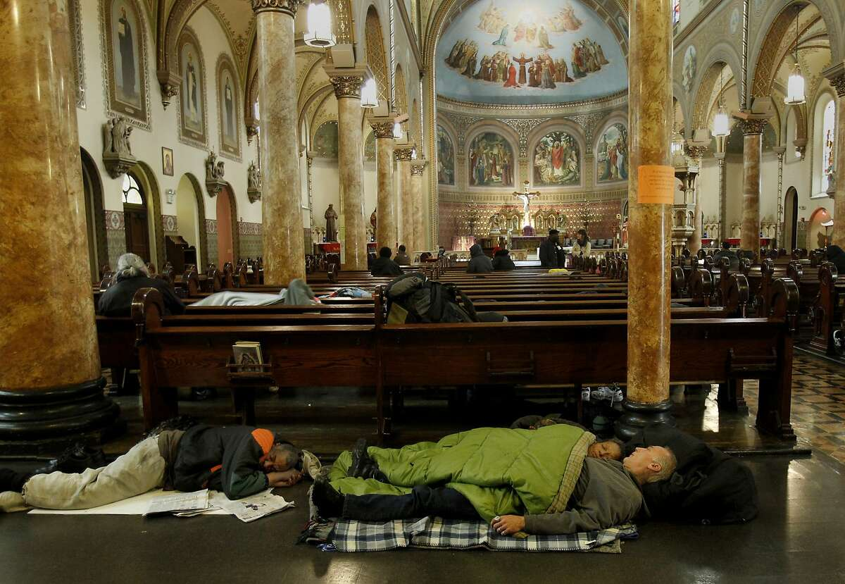 Some people can't find room in the pews, particularly if they are a couple, so they choose the floor at the rear of the church. The Gubbio project at St. Boniface Church in San Francisco, Calif. has seen an increase in homeless since the Transbay Terminal was demolished and the sit/lie ordinance enforced. The Gubbio project allows people to sit and sleep in the pews of the Tenderloin Catholic church from 6 a.m. til 1 p.m.