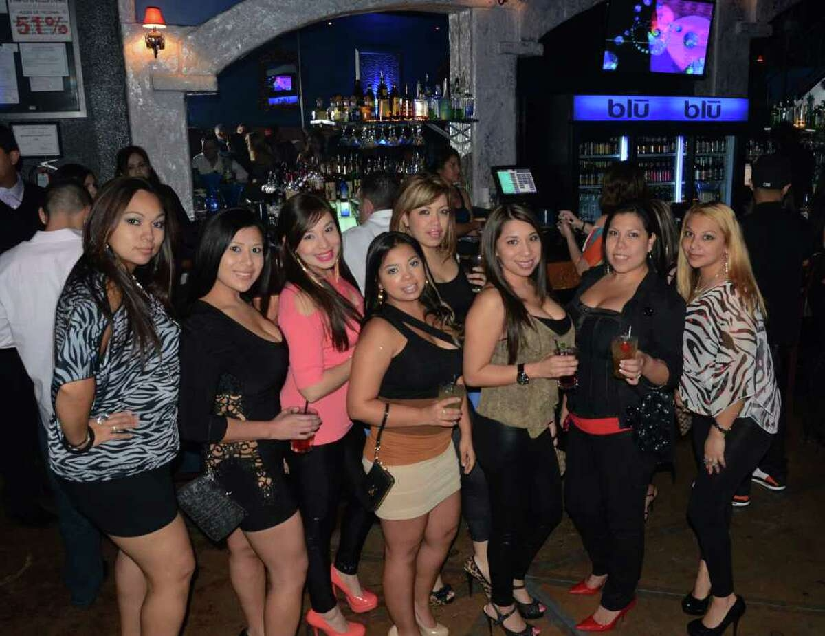 Laura Saldana (from left), Josie Pruneda (cq), Valerie Lopez, Amanda Garcia, Dayna Flores (cq), Jackie Contreras, Denise Alva (cq) and Melody Rodriguez hit the town at Blu Bar and Night Club on March 10, 2012. Robin Johnson