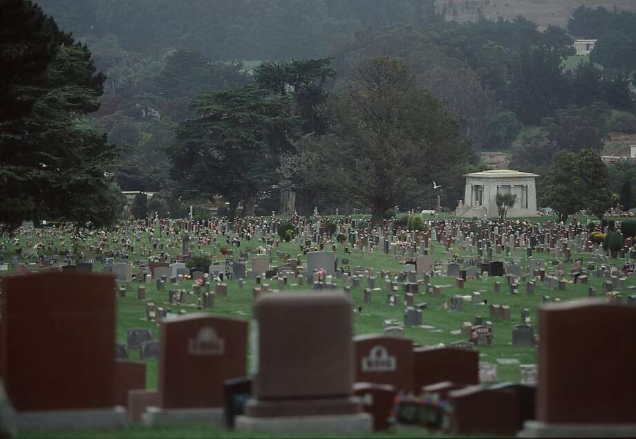 The city of Colma, at the northern end of the San Francisco peninsula, has more dead than living. Most of the land is dedicated to cemeteries, like the one shown above. Colma's the place to go if you're looking for a ghost. Photo: Mike Kepka, SFC