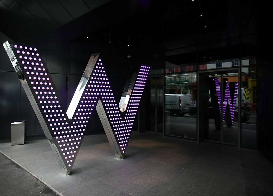 The W hotel logo is seen outside the entrance to the W hotel at Leicester Square in London, U.K., on Tuesday, March 29, 2011. Britain's services companies grew the most in almost nine years in January as hotels and restaurants recovered after the coldest December in a century. Photographer: Simon Dawson/Bloomberg Photo: Simon Dawson, Bloomberg