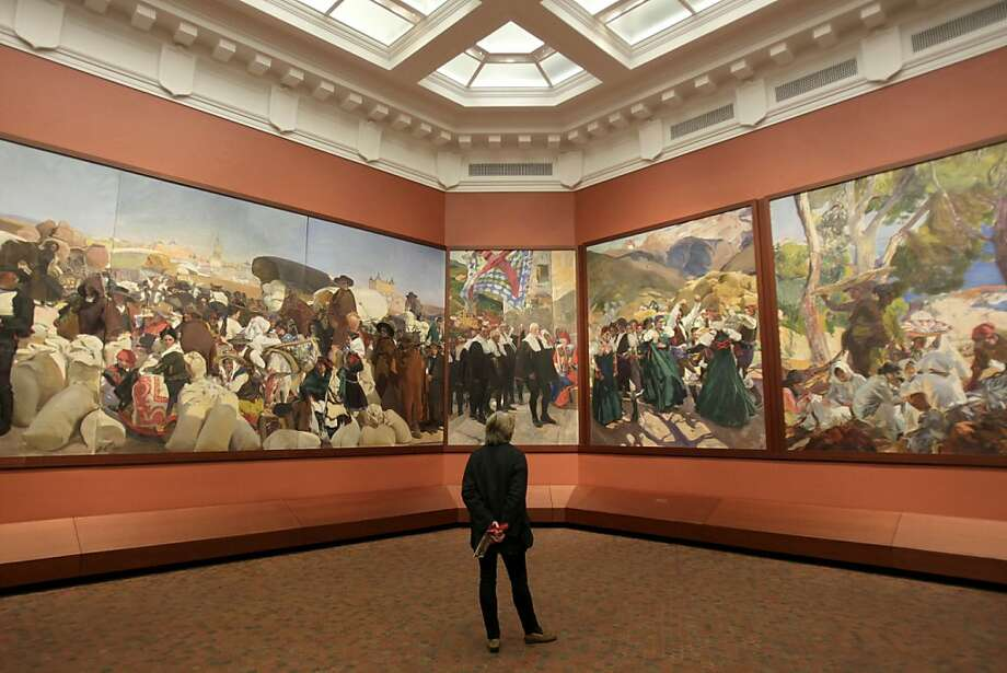 Large paintings by Joaquin Sorolla y Bastida are displayed at the Hispanic Society of America is seen in the Washington Heights section of New York, Tuesday, Feb. 21, 2012.  (AP Photo/Seth Wenig) Photo: Seth Wenig, Associated Press