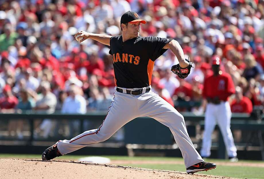 Starting pitcher Shane Loux #78 of the San Francisco Giants pitches against the Los Angeles Angels of Anaheim during the spring training game at Tempe Diablo Stadium on March 10, 2012 in Tempe, Arizona. Photo: Christian Petersen, Getty Images