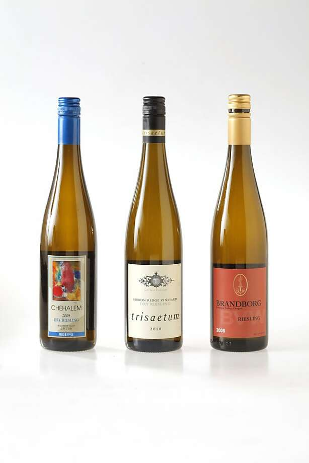 Left-right: 2009 Chehalem Reserve Willamette Valley Riesling, 2010 Tristaetum Ribbon Ridge Vineyard Ribbon Ridge Riesling, 2008 Brandborg Umpqua Valley Riesling. Photo: Craig Lee, Special To The Chronicle