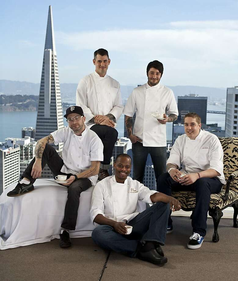 The class of 2012, at the top of the Fairmont Hotel. Clockwise from top: Teague Moriarty, Sons & Daughters; and Brett Cooper, Outerlands; Joey Elenterio, Chez TJ; Preston Clark, El Paseo; Anthony Strong, Locanda. Not pictured: Matt McNamara. Photo: Russell Yip, The Chronicle
