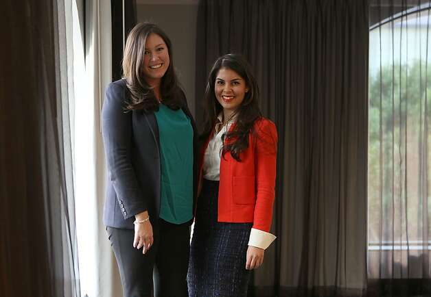 The Levo League co-founders Amanda Pouchot (left) and Caroline Ghosn (right) were keynote speakers at the Exceptional Women in Publishing conference in San Francisco Calif., on Wednesday, March 7, 2012.  The Levo League is an online community designed to guide Gen Y professional women through career challenges and development. Photo: Liz Hafalia, The Chronicle