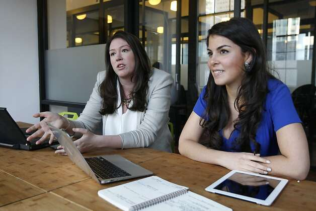 Co-founders, Caroline Ghosn (right) and Amanda Pouchot (left), discuss the launch of their website Levo League on Monday, March 5, 2012.  Levo League is a career recruiting website for women seeking job opportunities at prestigious companies. Photo: Sean Culligan, The Chronicle