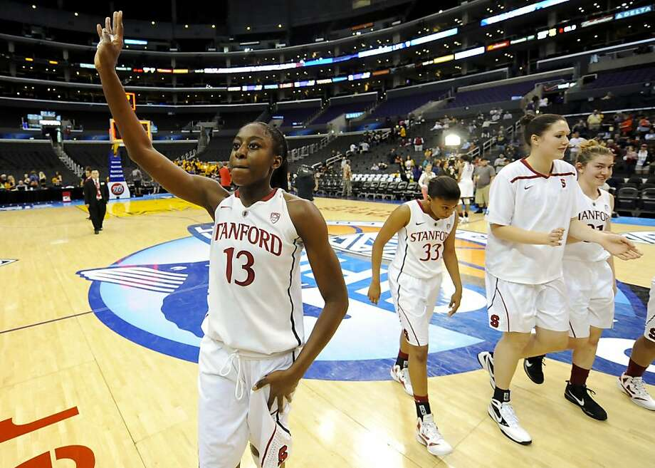 Stanford forward Chiney Ogwumike (13) waves to supporters as she leaves the court with her team after defeating Arizona State during the NCAA college semifinals Pac-12 Conference tournament basketball game, Friday, March 9, 2012, in Los Angeles. Stanford won 52-43. Photo: Gus Ruelas, Associated Press