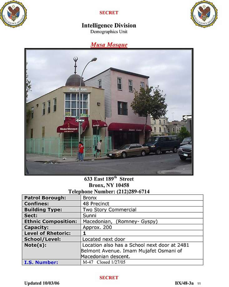 """This image made on Friday, March 9, 2012 from a New York Police Department, Intelligence Division, Demographics Unit document titled """"Syrian Locations of Concern Report"""" shows an entry on a mosque in the Bronx borough of New York. The New York Police Department kept secret files on businesses owned by second- and third-generation Americans specifically because they were Muslims, according to newly obtained documents that spell out in the clearest terms yet that police were monitoring people based on religion. Photo: Associated Press"""