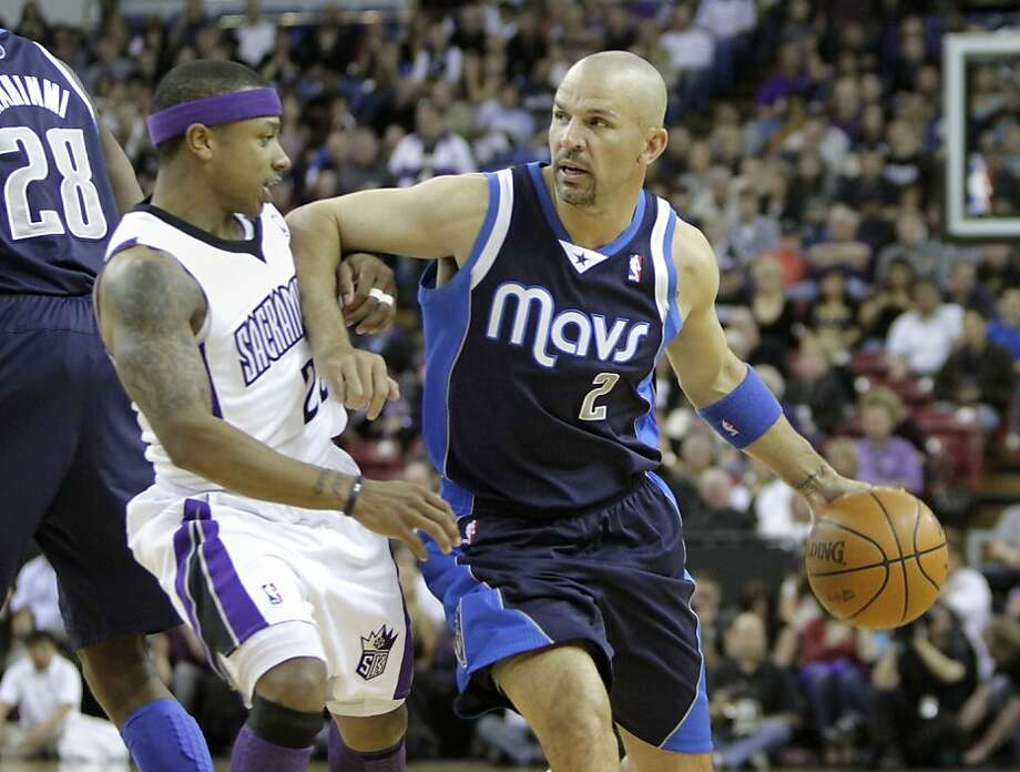 Dallas Mavericks guard Jason Kidd, right, drives against Sacramento Kings guard Isaiah Thomas during the first quarter of an NBA basketball game in Sacramento, Calif., Friday, March 9, 2012. Photo: Rich Pedroncelli, Associated Press