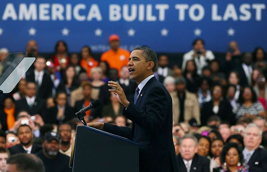 U.S. President Barack Obama speaks after touring the Rolls-Royce Crosspointe plant, on March 9, 2012 in Prince George County, Virginia.  President Obama talked about jobs and today's Labor Department report showing employer's added more jobs than last month. Photo: Mark Wilson, Getty Images