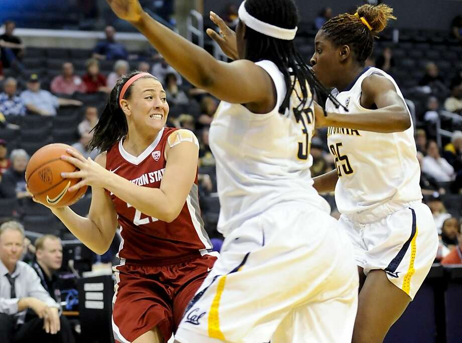 Washington State's Rosie Tarnowski (21) looks to pass while pressured by California center Talia Caldwell, center, and forward Gennifer Brandon (25) during the second half of the NCAA college semifinals Pac-12 Conference tournament basketball game, Friday, March 9, 2012, in Los Angeles. California won 64-49. Photo: Gus Ruelas, Associated Press