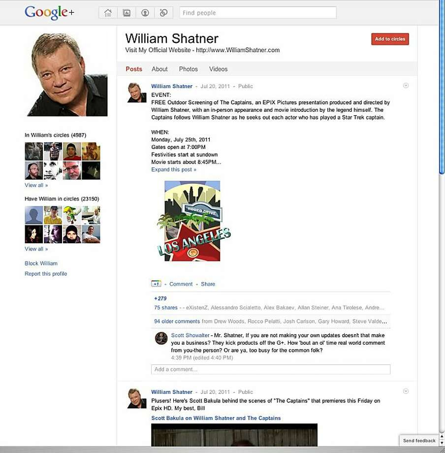 This screen shot shows a page from Google Plus. As the online world turns social with Facebook leading the way, Google's new Plus service represents its best shot yet at muscling into a market that has threatened to topple the Internet search leader. Photo: Google