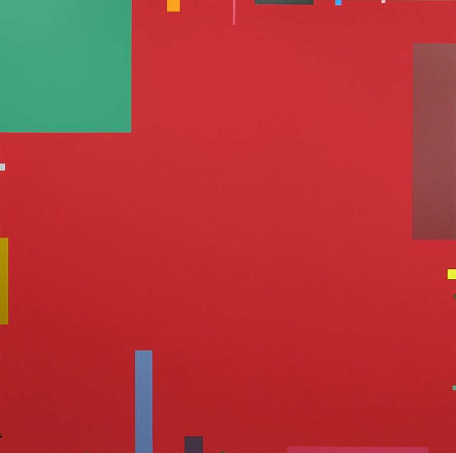 """Red Square (#20/74)"" (1974) acrylic on canvas by David Simpson  79"" x 79"" Photo: Unknown"