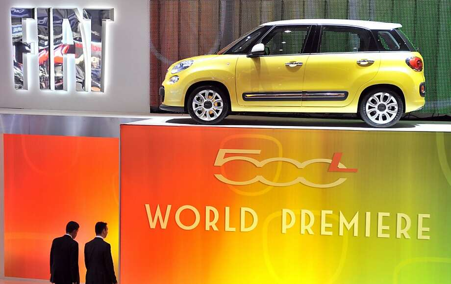 A Fiat 500L Monospace is displayed at the Italian carmaker's booth on March 6, 2012 during a press day ahead of the 82nd Geneva Motor Show in Geneva. Some 700 carmakers will be taking part in the Geneva Motor Show, which opens to the public from March 8 to 18. Photo: Sebastien Feval, AFP/Getty Images