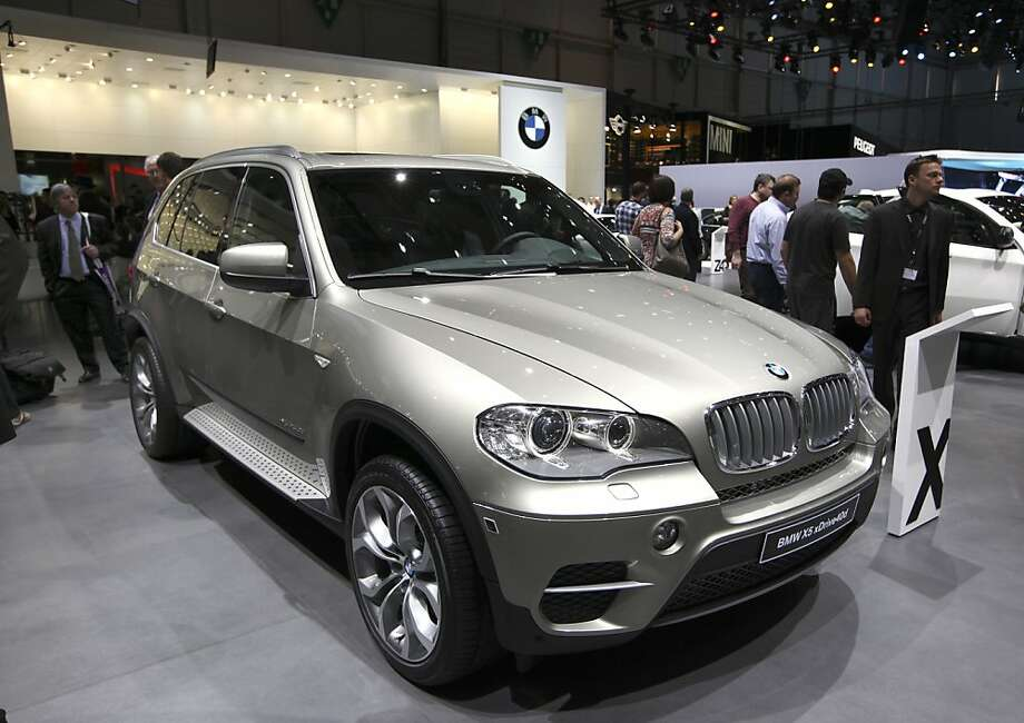 A BMW X 5 automobile produced by Bayerische Motoren Werke AG (BMW), is seen on display during the first press day of the Geneva International Motor Show in Geneva, Switzerland, on Tuesday, March 6, 2012. The 82nd Geneva International Motor Show will showcase the latest models from the auto industry's leading manufacturers at the Palexpo exhibition center this week. Photo: Chris Ratcliffe, Bloomberg