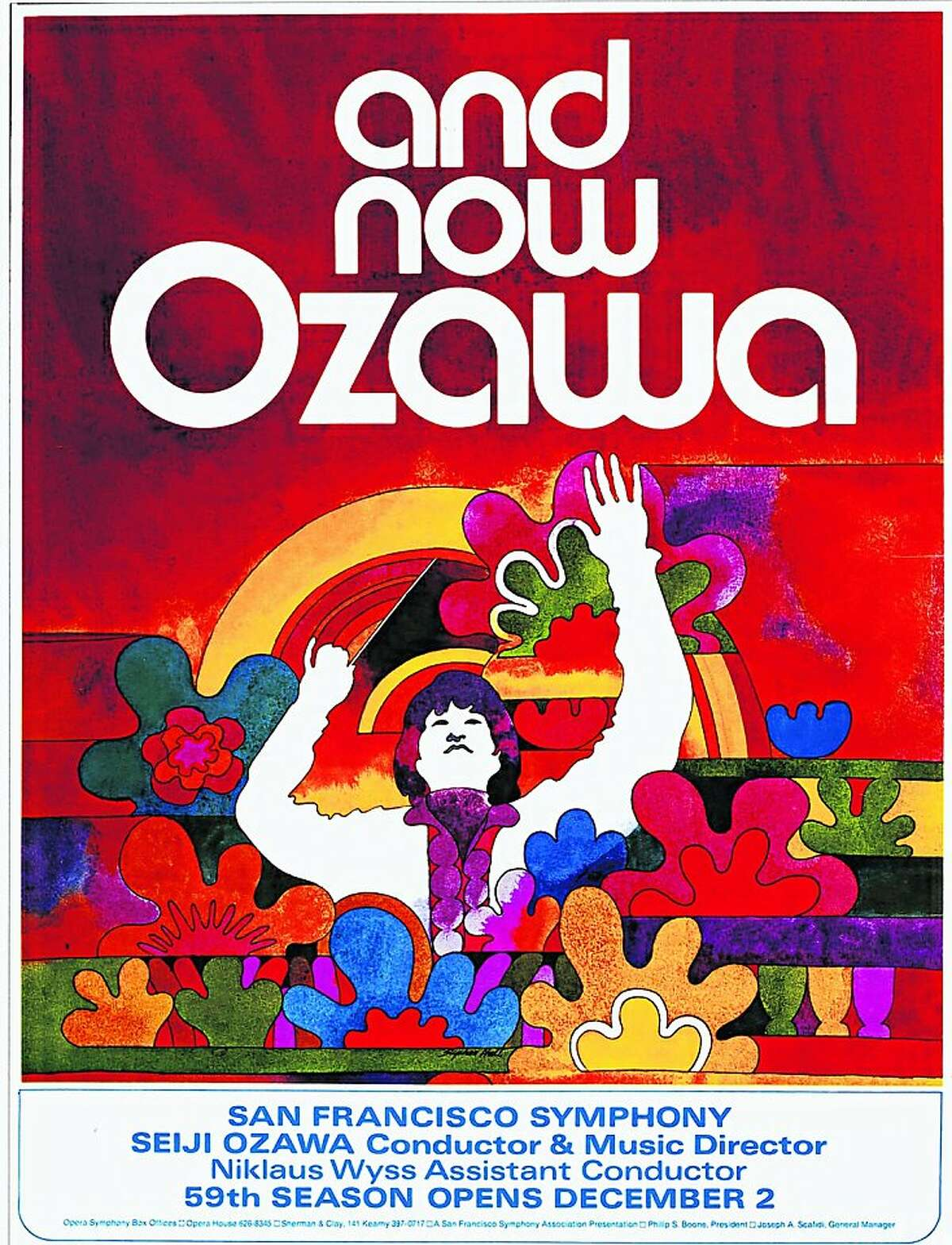 SFS at 100: Proof of poster announcing the 59th Season of the San Francisco Symphony and the debut season of Music Director Seiji Ozawa (1970).