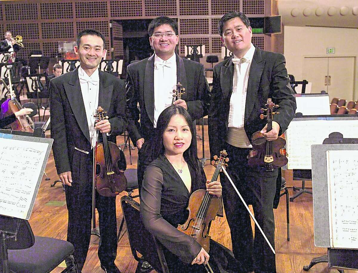 Violinist Chunming Mo, seated, with SF Symphony musicians (l to r, standing) Chen Zhao, Yun Chu and Yun Jie Liu.