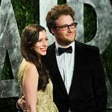WEST HOLLYWOOD, CA - FEBRUARY 26:  Actor Seth Rogen (R) Lauren Miller arrive at the 2012 Vanity Fair Oscar Party hosted by Graydon Carter at Sunset Tower on February 26, 2012 in West Hollywood, California.  (Photo by Alberto E. Rodriguez/Getty Images)