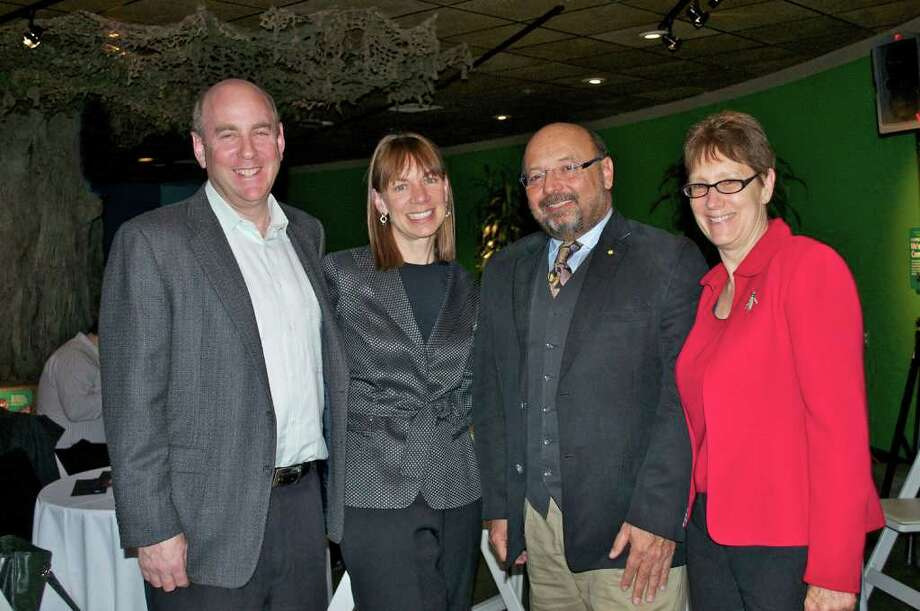 Dr. David Gallo (second from right) meets with (from left) Ken and Audrey Weil of Darien and Jennifer Herring, president of The Maritime Aquarium at Norwalk. Gallo, director of special projects at the Woods Hole Oceanographic Institution, spoke to the AquariumâÄôs Friends Society on March 11 about leading a recent exploration to the wreck of the Titanic. Audrey Weil is an Aquarium trustee. Photo: Contributed Photo