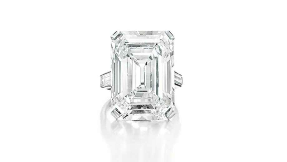 A Rectangular-Cut Diamond Ring of 19.86 Carats, By Cartier D-Color, Potentially Internally Flawless Clarity, Type IIa $2,000,000-3,000,000 Photo: Contributed Photo