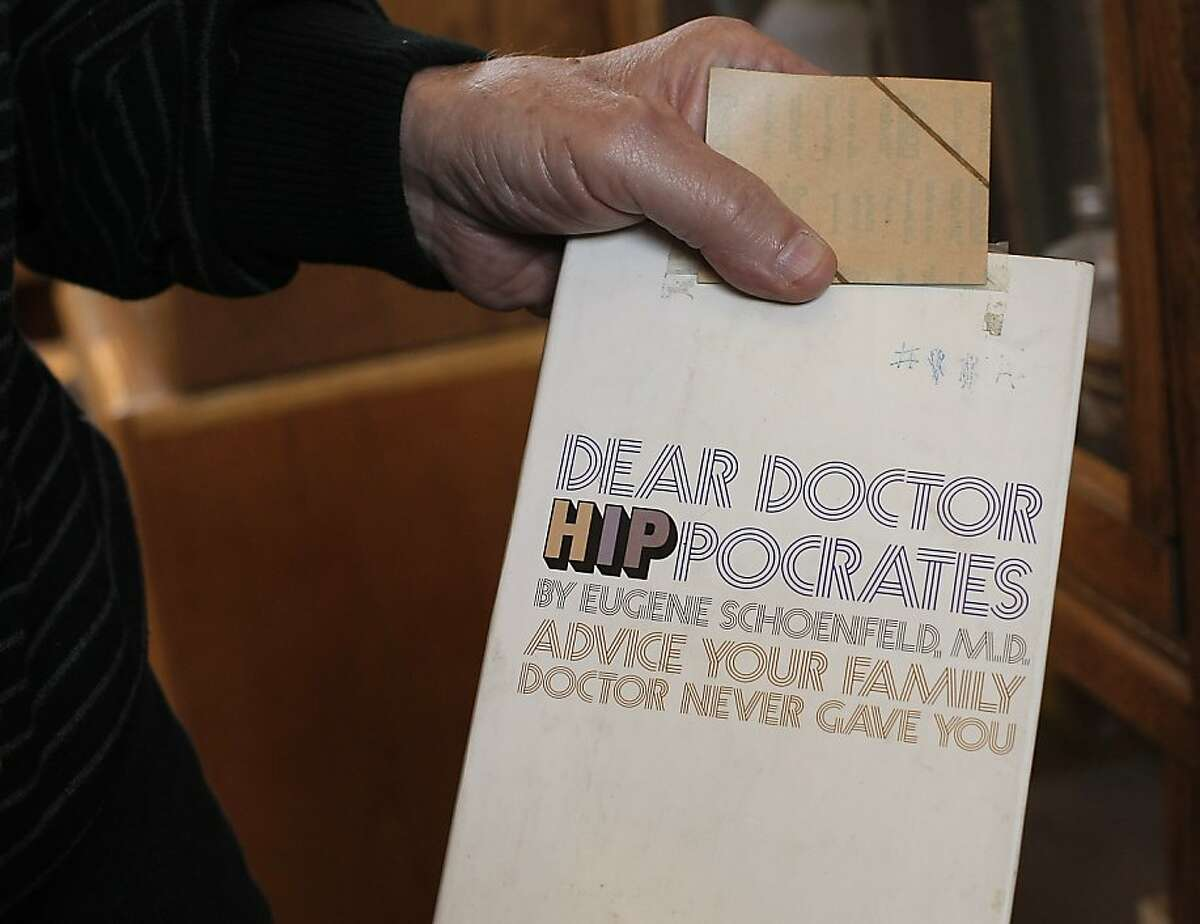 Dr. Eugene Schoenfeld a.k.a. Dr. Hip shows his first book DEAR DR. HIP POCRATES published in 1969. Dr. Schoenfeld is practicing Psychiatrist and sees patients at his office in Sausalito, California. February 28, 2012