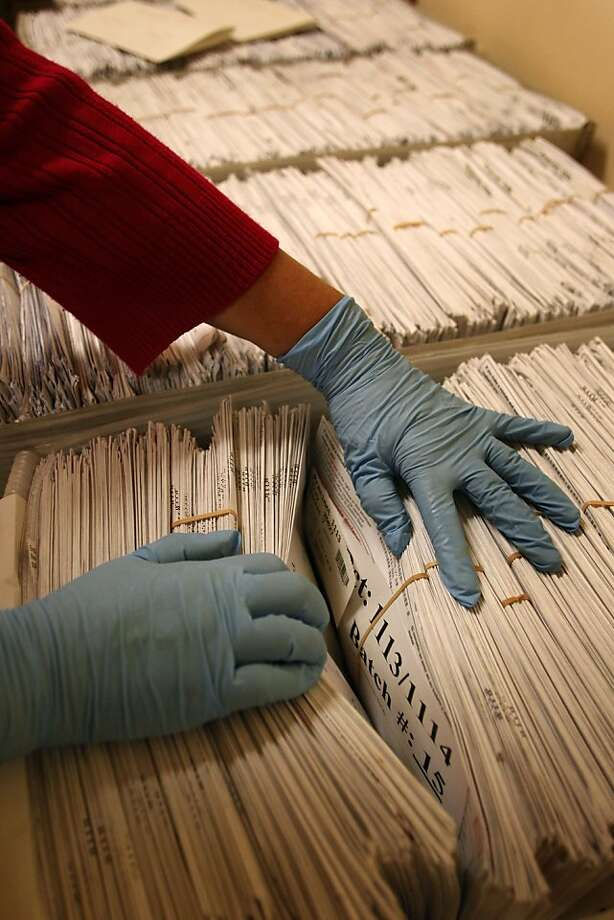 The envelopes from mail in ballots are processed at City Hall in the Department of Elections office, on Wednesday November 09, 2011, in San Francisco, Ca. Photo: Michael Macor, The Chronicle