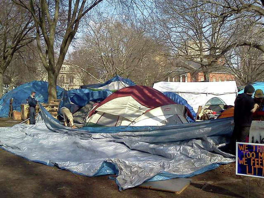 Occupy New Haven has been given a deadline of noon on Wednesday, March 14, 2012 to leave the city's Green. Photo: WTNH News 8