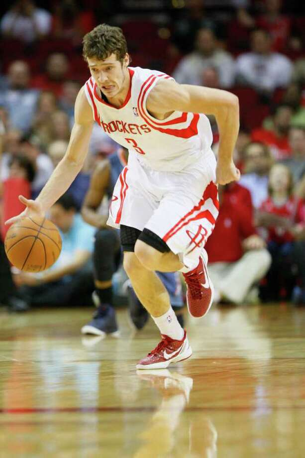 Houston Rockets point guard Goran Dragic (3) runs across court to score for the Rockets in the first period during the Charlotte Bobcats basketball game at Toyota Center on Wednesday, March 14, 2012, in Houston. Photo: Mayra Beltran, Houston Chronicle / © 2012 Houston Chronicle