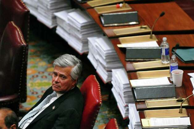 Senate Majority Leader Dean G. Skelos waits in the Senate chamber on Wednesday night March 14, 2012 in Albany, N.Y. (Philip Kamrass / Times Union ) Photo: Philip Kamrass