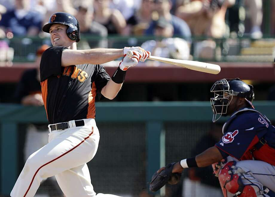 San Francisco Giants' Buster Posey in action against the Cleveland Indians during a spring training baseball game Wednesday, March 14, 2012 in Scottsdale, Ariz. (AP Photo/Marcio Jose Sanchez) Photo: Marcio Jose Sanchez, Associated Press