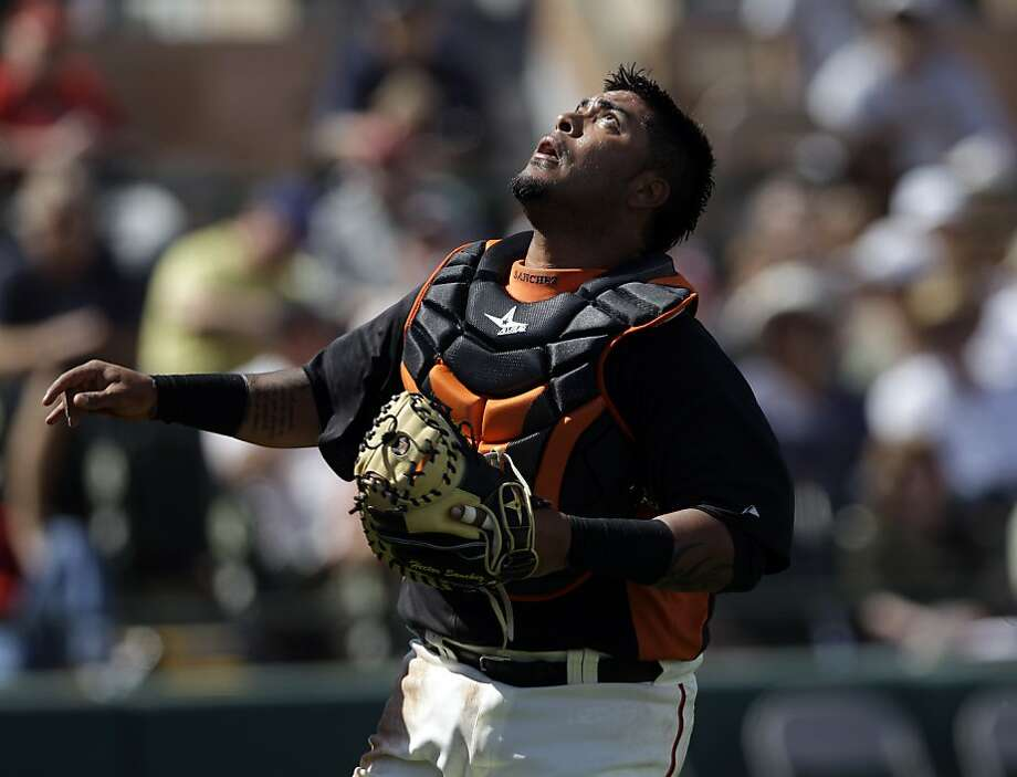 San Francisco Giants catcher Hector Sanchez in action against the Cleveland Indians during a spring training baseball game Wednesday, March 14, 2012 in Scottsdale, Ariz. Photo: Marcio Jose Sanchez, Associated Press