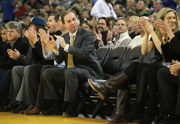 Golden State Warriors' majority owner Joe Lacob sits next to two vacant seats on the front row during their game with the Boston Celtics Wednesday, March 14, 2012, in Oakland. Photo: Lance Iversen, The Chronicle