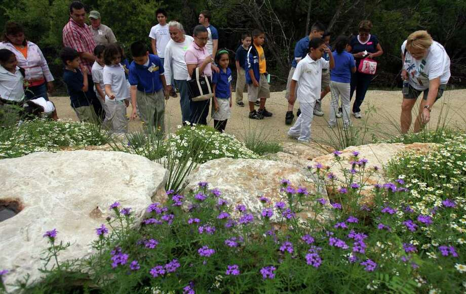 Children and volunteers from Madison Elementary School look at native plantings at Crown Ridge Canyon Natural Area on April 3, 2007. The kids are in teacher Paul Gates' second grade class, where he emphasizes learning about things outside of the classroom. Photo: JOHN DAVENPORT, Express-News File Photo / SAN ANTONIO EXPRESS-NEWS