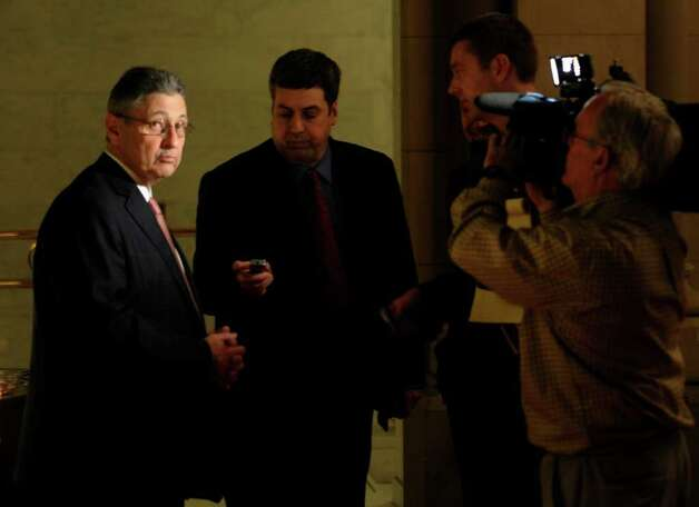 Assembly Speaker Sheldon Silver, D-Manhattan, gives a final interview near his office at the rear of the Assembly chamber in the State Capitol in Albany, N.Y.  after an all-night session.  (Skip Dickstein / Times Union) Photo: SKIP DICKSTEIN