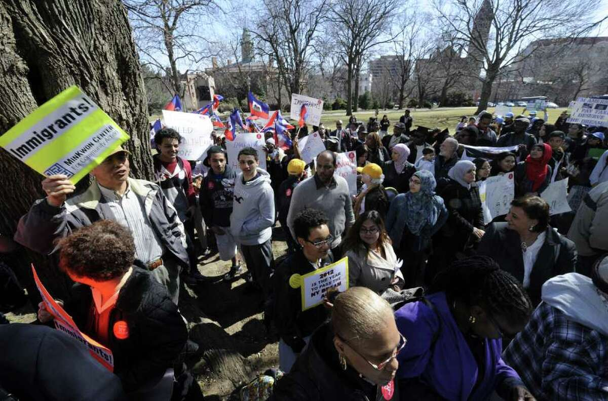 Demonstrators from across the state came to Lafayette Park in Albany, N.Y. March 14, 2012 for the 15th annual Immigrants Day of Action. ( Skip Dickstein / Times Union)