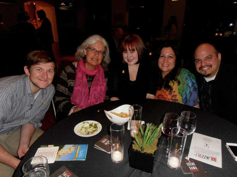 Vincent Goodwin, from left, Corrien Visscher, Kimberley Hall and Leticia and Hector Cavazos start the weekend with art at the Second Friday Scene at SAMA Happy Hour. / Photo by Nancy Cook-Monroe