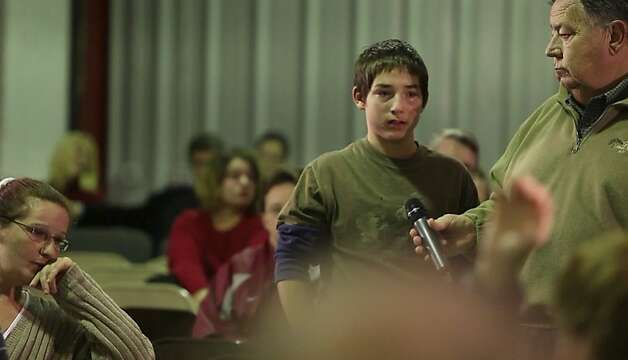 "A boy speaks during a town hall meeting in ""Bully,"" a movie that illustrates the anguish felt by not only the victims, but by family and friends. Photo: The Weinstein Co."