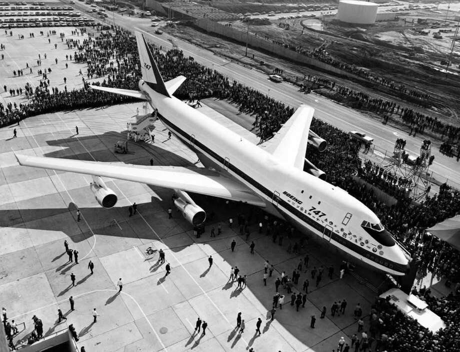 Boeing rolled the first 747 out of its Everett wide-body aircraft plant over 50 years ago, on Sept. 30, 1968, ushering in the jumbo-jet era.Click on for more photos of the first 747, and other 747s through the decades. Photo: -, AFP/Getty Images / 2009 AFP