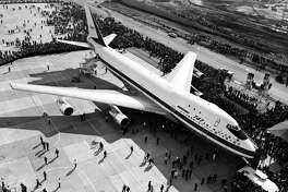 Picture of the first Boeing 747 rolled out of the Boeing company's plant in the State of Washington in September 1968. On September 30, 1968, the first 747 was rolled out of the Everett assembly building before the world's press and representatives of the 26 airlines that had ordered the plane, and first flight took place on February 09, 1969.
