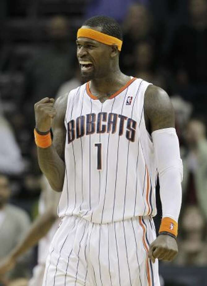 Charlotte Bobcats' Stephen Jackson reacts in the closing seconds of the Bobcats' 113-110 win over the Minnesota Timberwolves in an NBA basketball game in Charlotte, N.C., Monday, Nov. 15, 2010. (AP Photo/Chuck Burton) (AP)
