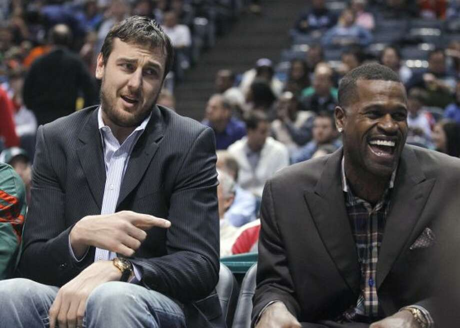 In this Friday, March 9, 2012, photo, Milwaukee Bucks' Andrew Bogut, left, and Stephen Jackson sit on the bench during the Bucks' NBA basketball game against the New York Knicks in Milwaukee. A person with direct knowledge of the deal says the Bucks have agreed to trade the two to the Golden State Warriors. The Bucks will receive guard Monta Ellis, forward Ekpe Udoh and center Kwame Brown, the person confirmed to The Associated Press on condition of anonymity because the deal had not been announced. (AP Photo/Jeffrey Phelps) (AP)