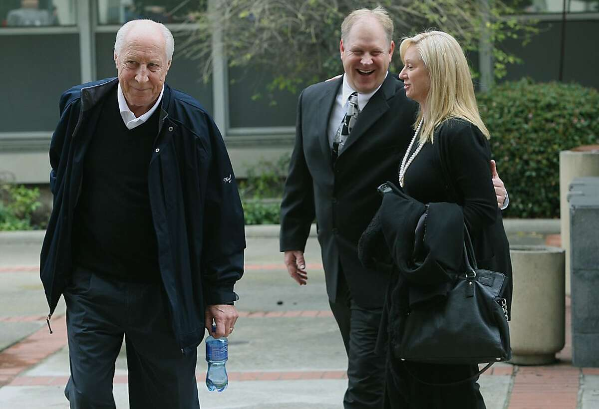 Former Oakland Raider great Fred Biletnikoff (left) his son Fred Biletnikoff, Jr. (middle), and wife Angela Biletnikoff (right) outside of the courthouse in Redwood City, Calif., on Thursday, March 15, 2012. Mohammed Haroon Ali, 36, was found guilty today for strangling his girlfriend Tracey Biletnikoff (Fred Biletnikoff's daughter) in February 1999.