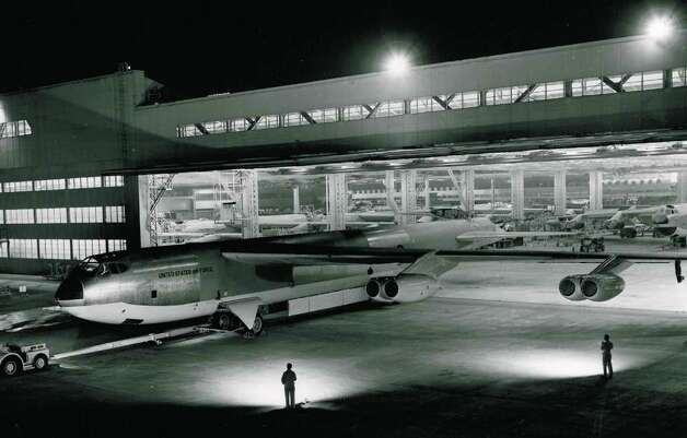 A newly-completed B-52 is rolled out of Boeing's Seattle plant on March 18, 1955. Photo: The Boeing Co. / SL