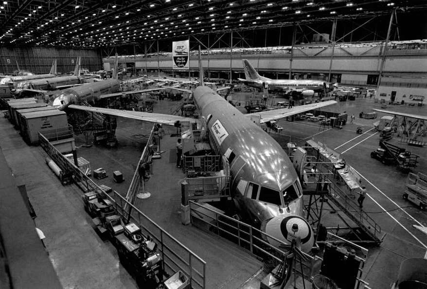 Boeing's 737 assembly line, in Renton, Wash., is shown on April 19, 1989.