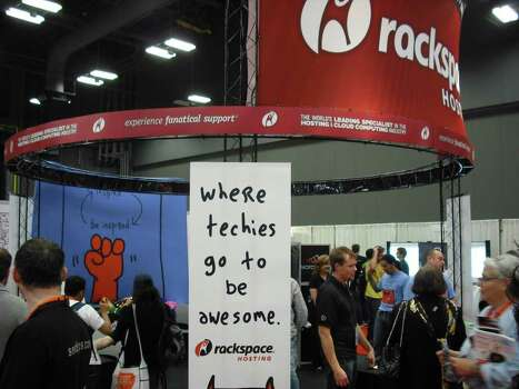 The South by Southwest Interactive trade show booth hosted by Rackspace Hosting maintained a steady line of visitors Tuesday. Photo: Edmond Ortiz / North Central News