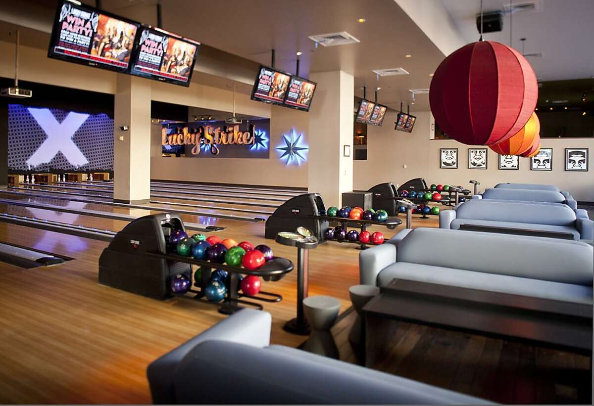 The bowling alley area of Lucky Strike is seen on Wednesday, March 7, 2012 in San Francisco, Calif.