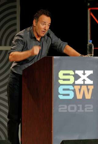Musician Bruce Springsteen gives the keynote address at the SXSW Music Festival in Austin, Texas on Thursday, March 15, 2012. Photo: AP